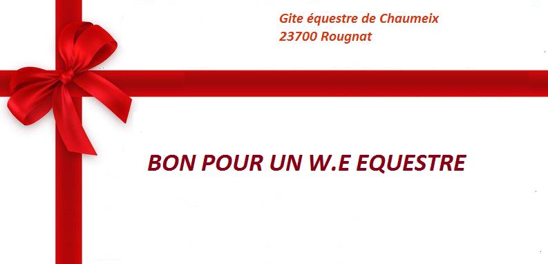 Extrêmement bon cadeau we equestre, chèque cadeau équitation week end en gîte EQ12